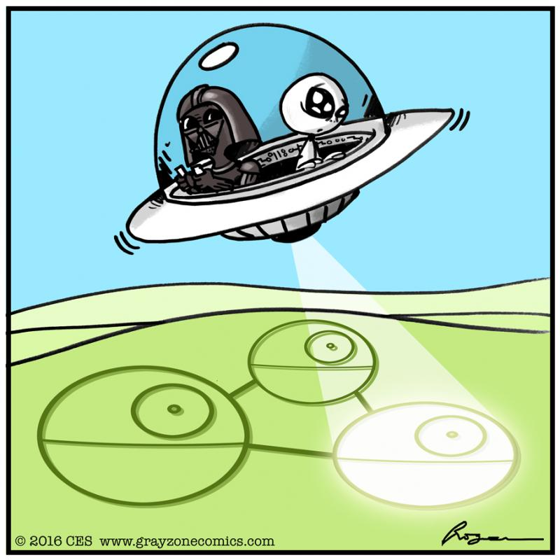 Force Fed #aliens #humor #comics #StarWars #funny #DarthVader #cropcircles #ufo